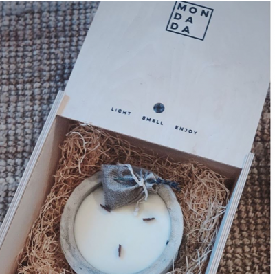 Scented Candle Fire me Up   Beige