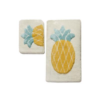 2-teiliges Badematten-Set Ananas I Mehrfarbig