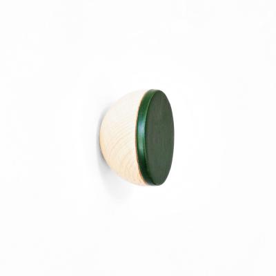 Buchenholz & Keramik Haken / Knopf Ø 6cm   Dunkelgrün