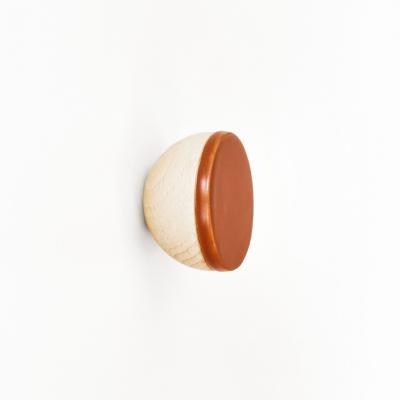 Buchenholz & Keramik Haken / Knopf Ø 6cm   Dunkles Terrakotta
