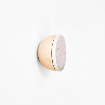 Buchenholz & Keramik Haken / Knopf Ø 6cm   Grau Sand