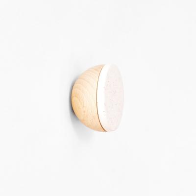 Buchenholz & Keramik Haken / Knopf Ø 6cm   Weißer Sand