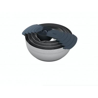 Rührschüsseln & Messbecher Nest 9er Set | Silber