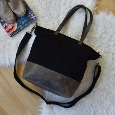 Leather Tote Bag Boyfriend | Black