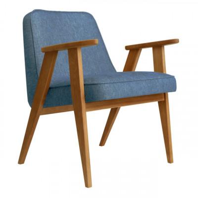 Sessel 366 Loft | Natürliche Eiche & Denim Blau