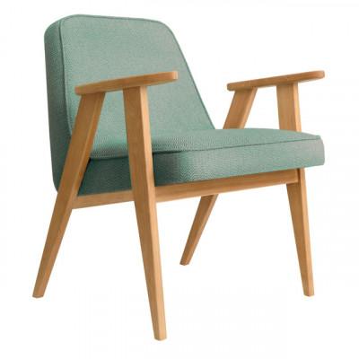 Sessel 366 Tweed | Natürliche Eiche & Grün Aqua
