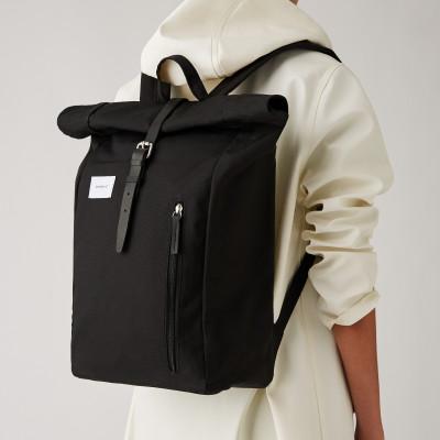 Rucksack DANTE | Schwarz mit schwarzem Leder