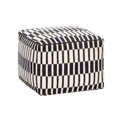 Pouf Square Wolle | Schwarz/Weiss