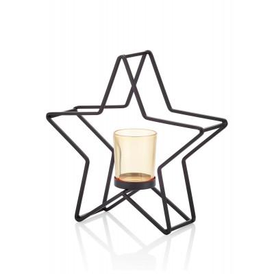 Kerzenhalter Stern | Schwarz