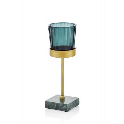 Teelichthalter   Gold & Blau