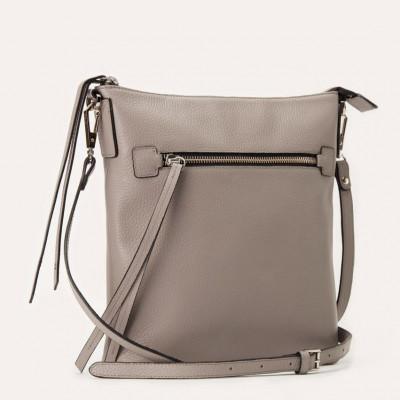 Leather Bag Pebble Crossbody | Grey