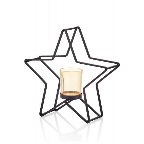 Kerzenhalter Stern   Schwarz