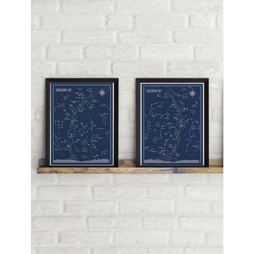 Poster Nordhimmel   Blau