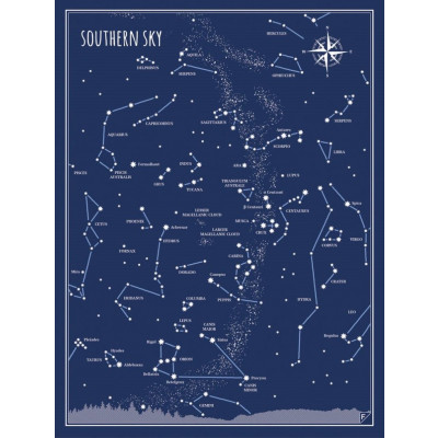 Poster Südhimmel | Blau