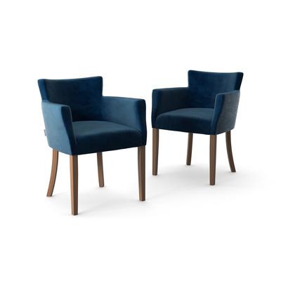 2-er Set Stühle Santal Samt Touch | Braune Beine & Marineblau