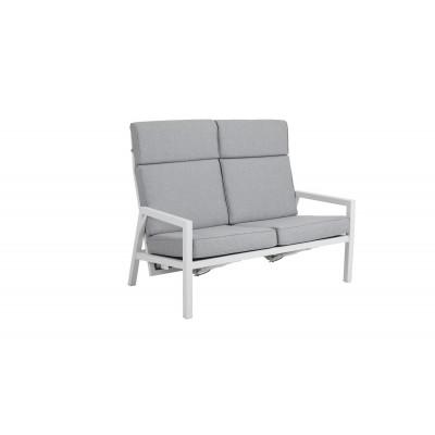 2-Sitzer Außensofa Highback Belfort | Weiß  & Grau