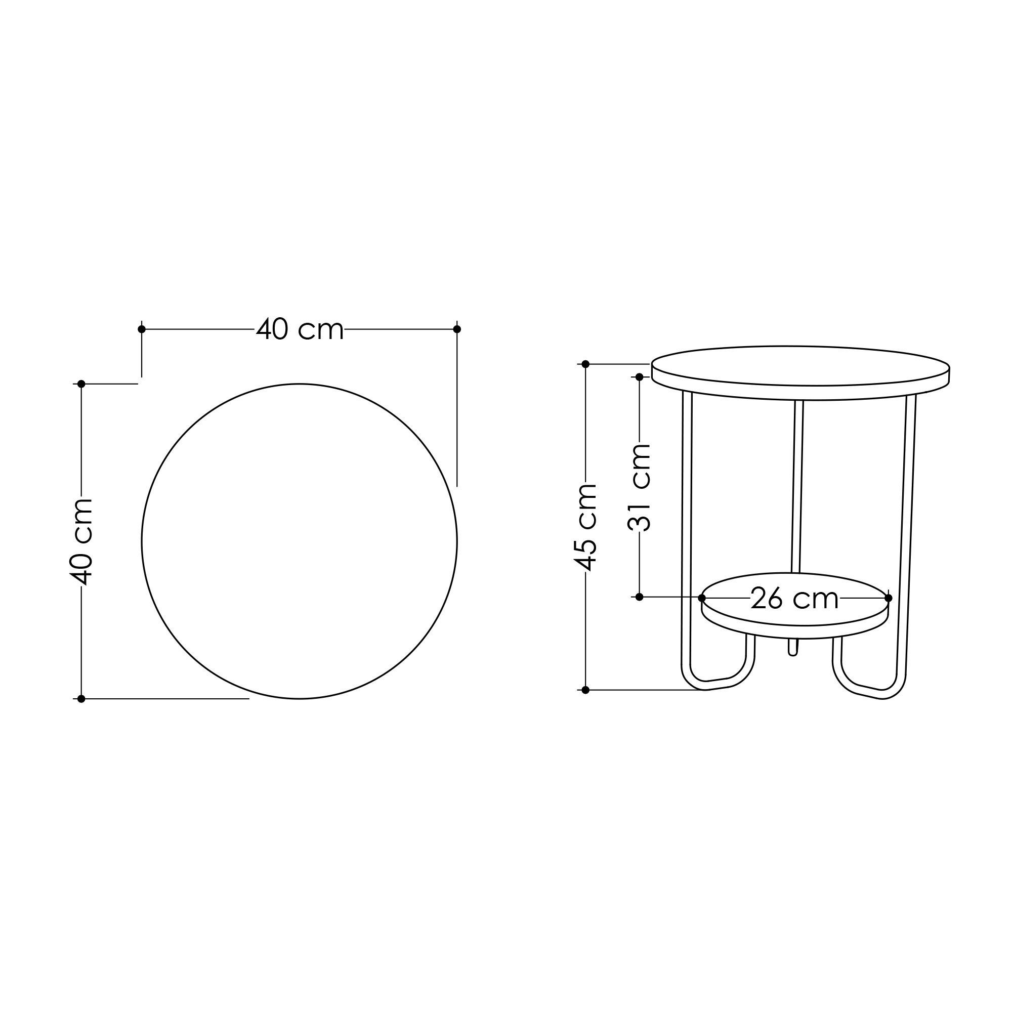 Side Table Corro 40 x 40 x 45 cm   White
