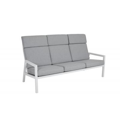 3-Sitzer Außensofa Highback Belfort | Weiß & Grau