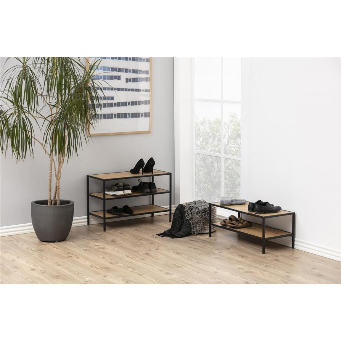 Shoe Rack Stanley Low   Oak / Black