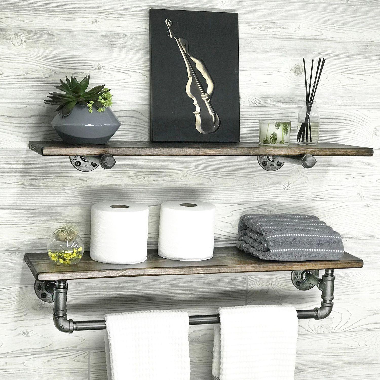 Set of 2 Pipe Shelves   Walnut