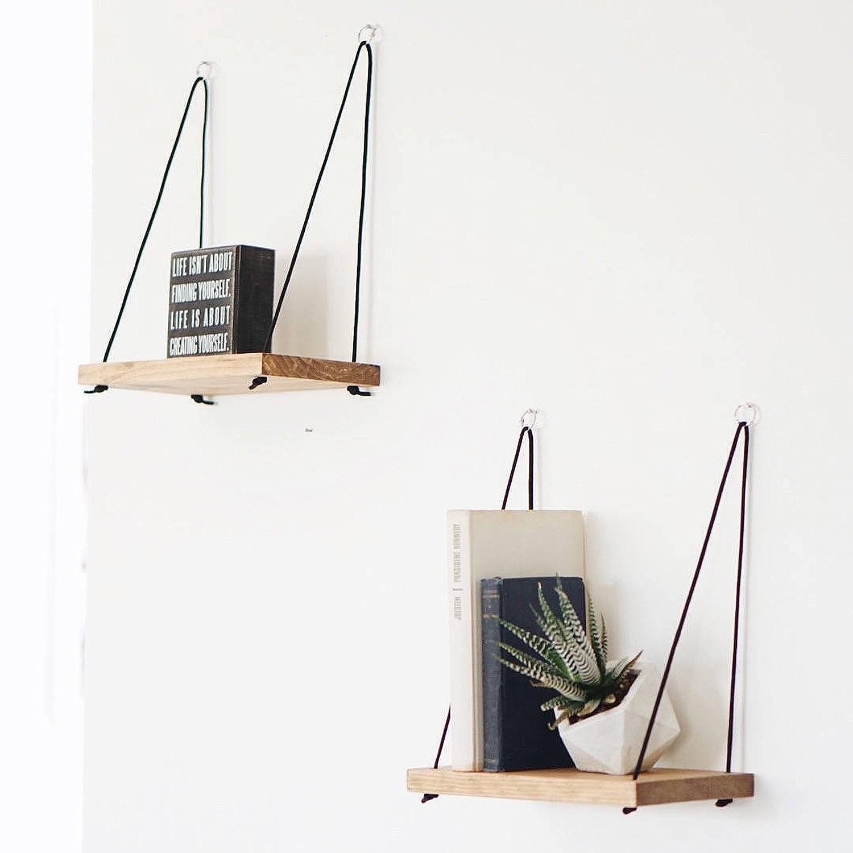 Set of 2 Wall Shelves   Walnut