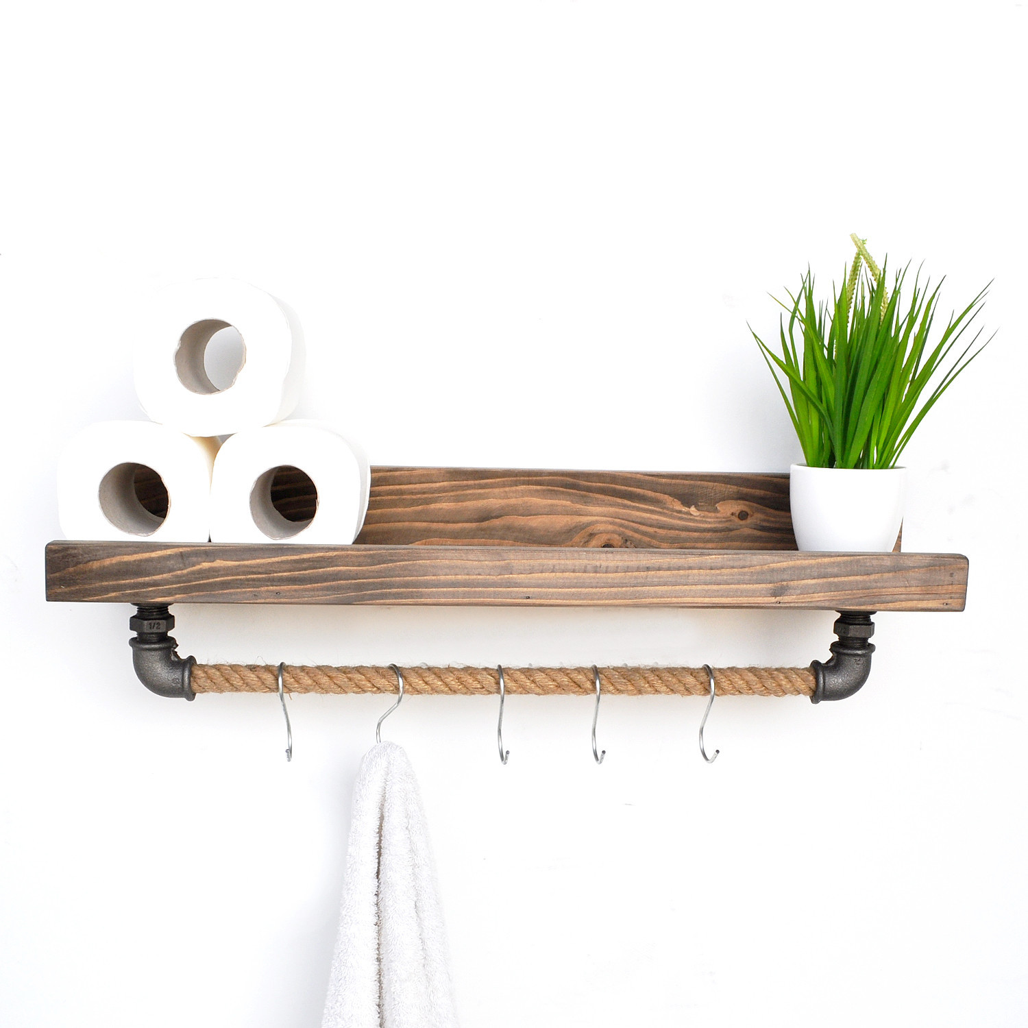 Pipe Shelf with 5 Metal Hooks | Spruce Wood & Rope