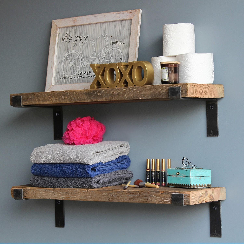 Set of 2 Wall Shelves LAM004 | Walnut & Black