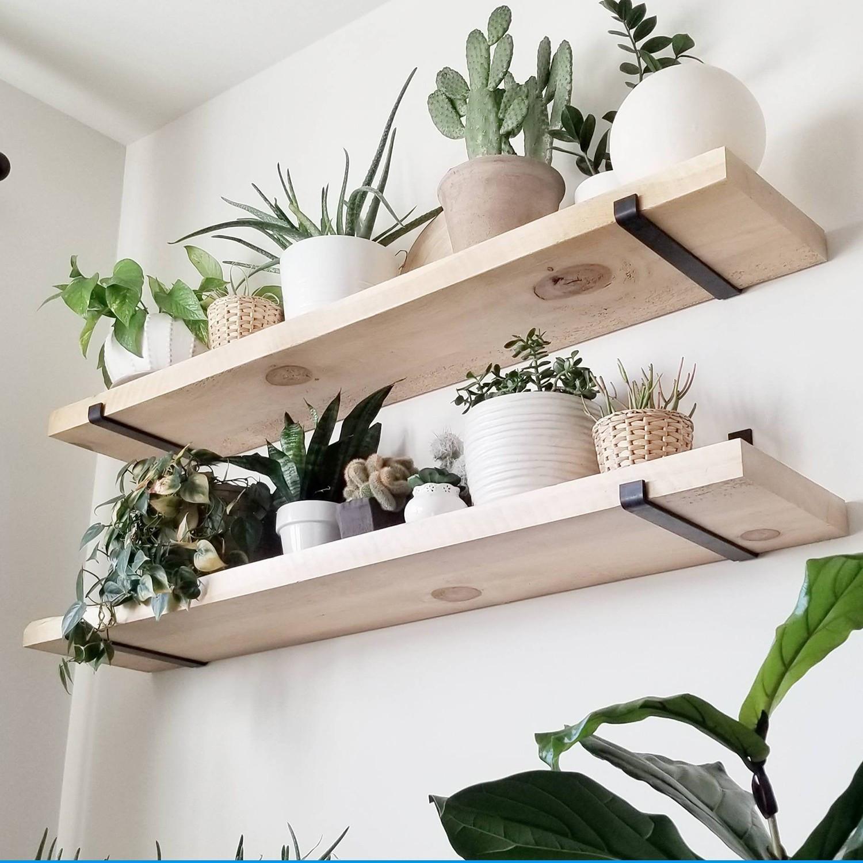Set of 2 Wall Shelves | Wood & Metal