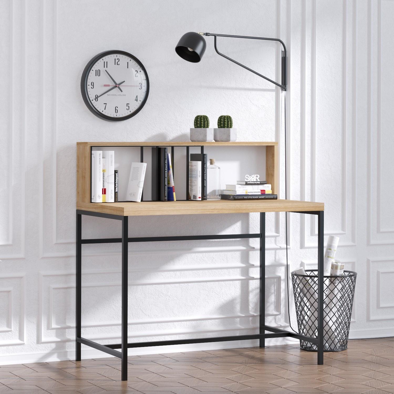 Schreibtisch Dustin | Eiche-Schwarz