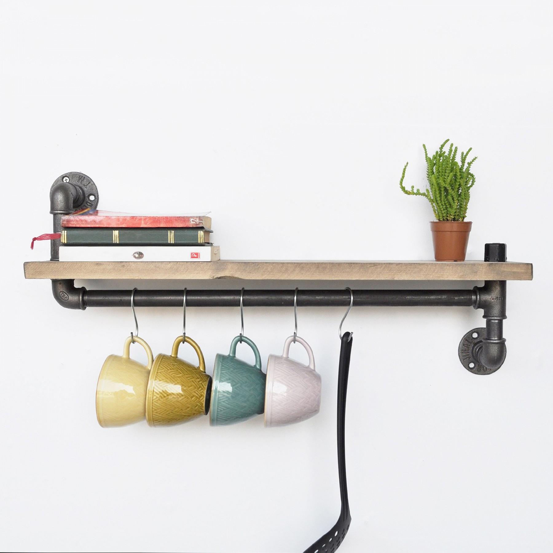 Pipe Shelf with 5 Metal Hooks