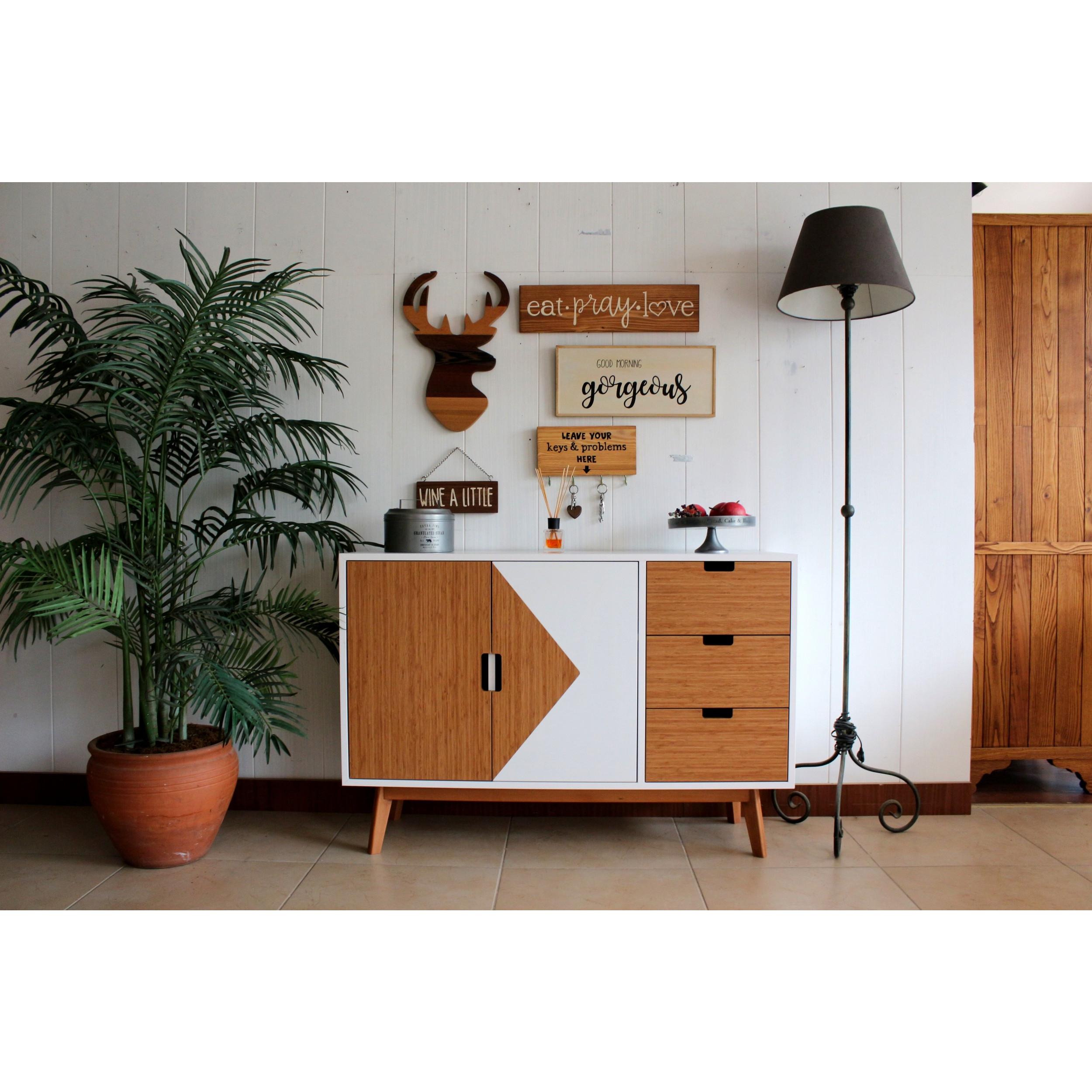 Decorative Wooden Wall Accessory Eat Pray Love   Light Walnut
