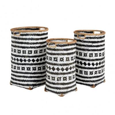 Round Bamboo Basket H 60 cm   Set of 3   Black & White