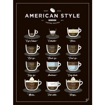 Poster Kaffee im amerikanischen Stil | Schwarz