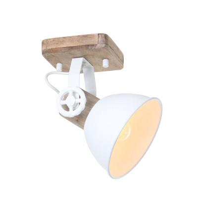 Spotlampe 1-L. Gearwood | Weiß-Braun