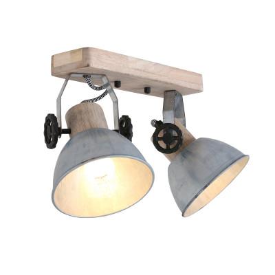 Spotlampe 2-L. Gearwood | Zink - Braun