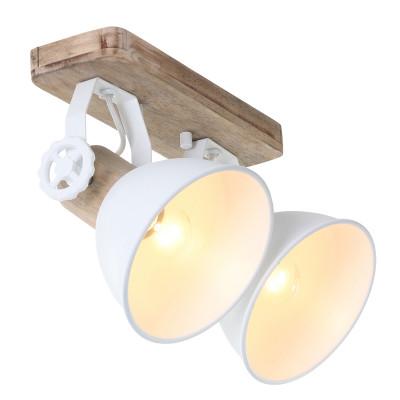 Spotlampe 2-L. Gearwood | Weiß-Braun