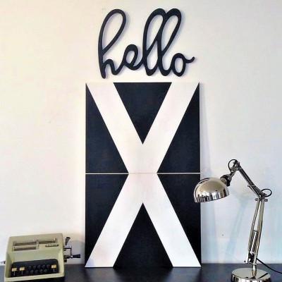 Dekoratives Holzwandzubehör Hello | Schwarz
