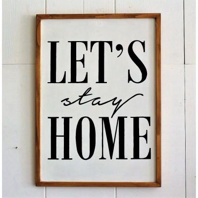 Dekoratives Holzwandzubehör Let's Stay Home | Braun-Weiß-Schwarz