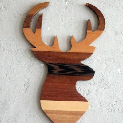 Dekoratives Holzwandzubehör Wood Deer | Braun