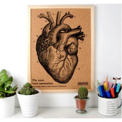 Bulletin Board Kork 40 x 30 cm | Anatomisches Herz