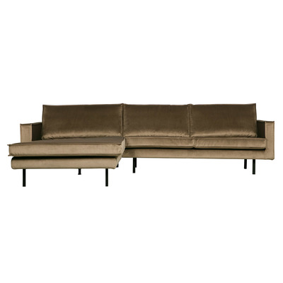 Chaise Longue Links Rodeo Samt | Taupe