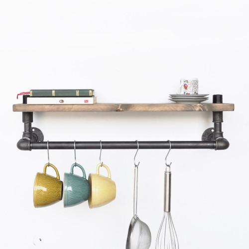 Pipe Shelf with Bar | Walnut