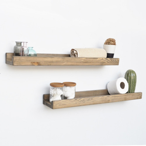 Set of 2 Wall Shelves Aa073   Walnut