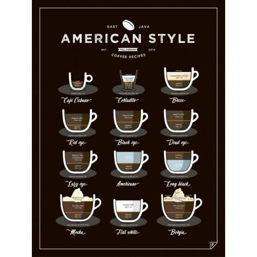 Poster Kaffee im amerikanischen Stil   Schwarz