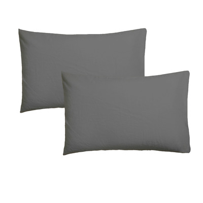 Set of 2 Pillow Covers 50 x 75 | Graphite Grey