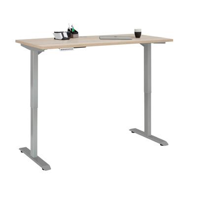 Adjustable Computer Desk | Platinum Grey Metal and Sonoma Oak