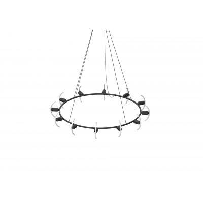 Kronleuchter Circular B mit Smile-02 LED-Glühbirnen | Schwarz