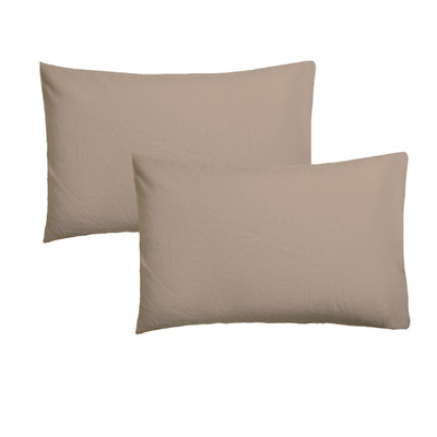 Set of 2 Pillow Covers 50 x 75 | Straw Brown