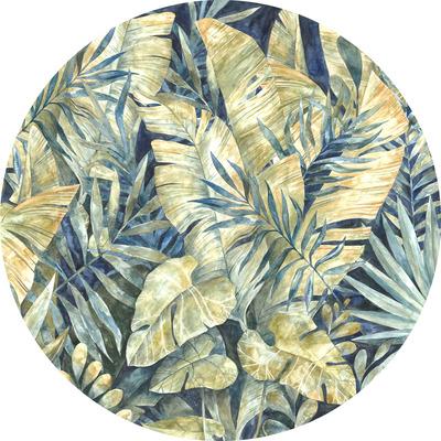 Runde Fototapete Feuilles Tropicales | Mehrfarbig