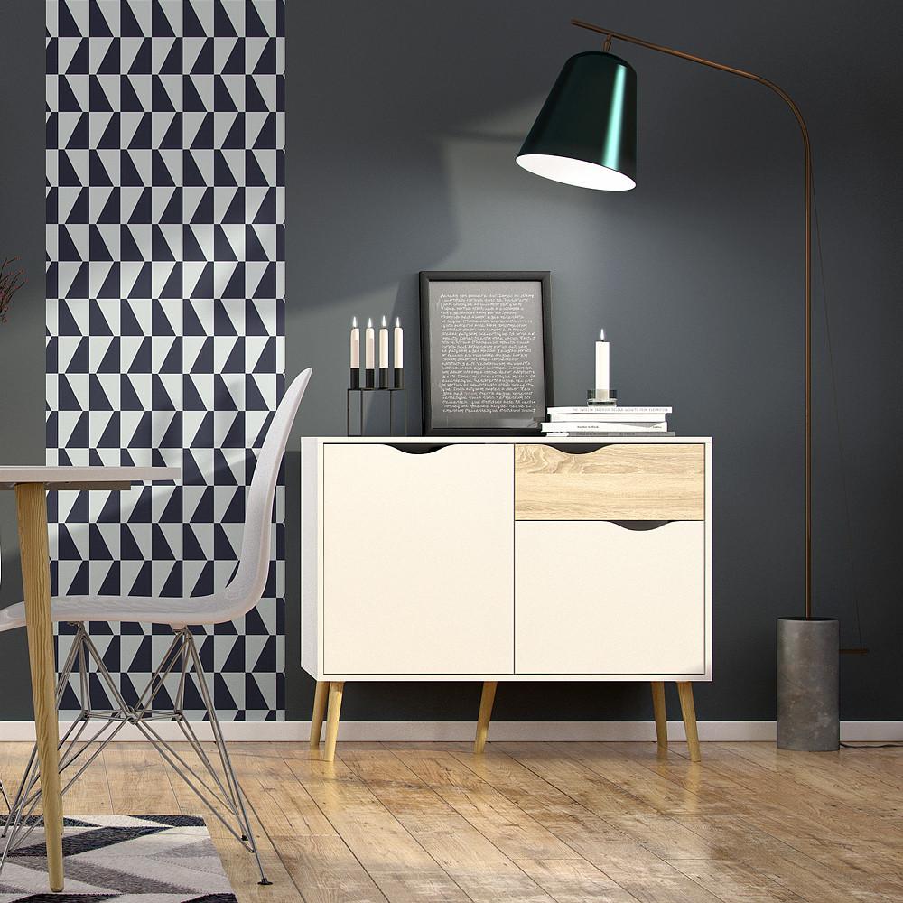 Sideboard mit 2 Türen & 1 Schublade   Weiß